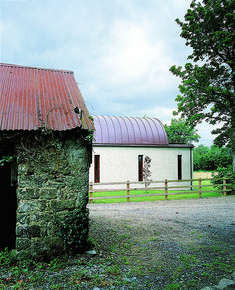 This is a new house in Fermanagh. The initial brief was to restore a derelict cottage on a limited budget. House Designs Ireland, Barn Style House Plans, Cottage Renovation, Building A New Home, Open Plan Kitchen, Bungalow, Architects, Restoration, Shed