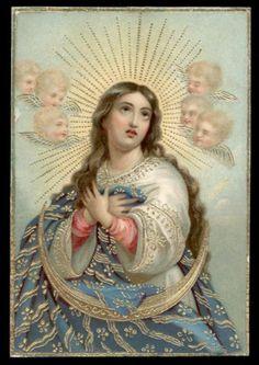 Antico Santino Cromo Holy Card Maria Immacolata
