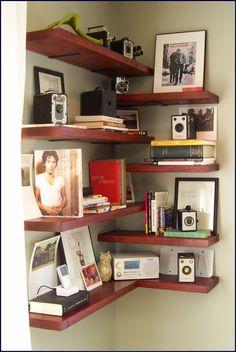 Marvelous floating corner shelves ideas