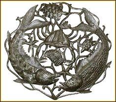 Metal Fish Wall Decor metal wall hanging fish & lobster - haitian recycled steel drum