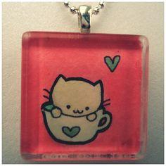 Green Tea Kitty Pendant by cellsdividing.deviantart.com on @deviantART