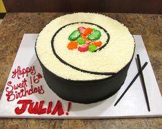 19th Birthday Cakes, Birthday Cakes For Teens, My Birthday Cake, Sushi Cake, Sushi Party, Cakes For Teenagers, Sushi For Kids, Birthday Cake Writing, Bithday Cake