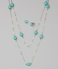 Look what I found on #zulily! Turquoise & Silver Station Necklace & Stud Earrings #zulilyfinds