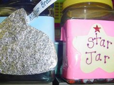 """Our """"Kiss Your Brain"""" and """"Star Jar"""" reward jars   I sometimes reward a student for great thinking with a Hershey's kiss from   the """"Kiss Your Brain"""" jar. They LOVE this song from Dr. Jean!   At the end of each day, the student custodian inspects our classroom for   cleanliness. If the class gets a """"thumbs up"""", then each student receives   a Starburst or Tootsie Roll candy from the """"Star Jar"""". Classroom Rewards, Classroom Behavior Management, Kindergarten Classroom, Classroom Activities, Classroom Ideas, Too Cool For School, School Fun, School Stuff, School Ideas"""
