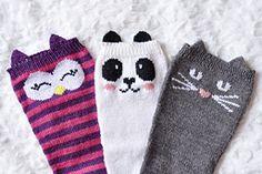 Cat, Owl, and Panda Knee High Socks pattern by Lauren Riker Knitting Socks, Baby Knitting, Knitted Cat, Sock Animals, Kids Socks, Knit Picks, Animal Ears, Knee High Socks, Cool Socks