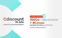 En cette mi-octobre, Cdiscount Mobile lance une offre mobile sans engagement qui permet de profiter de 100 Go d'internet pour seulement 8,99 € par mois. Une opportunité à saisir pour les personnes souhaitant changer d'opérateur ou souscrire à un forfait...