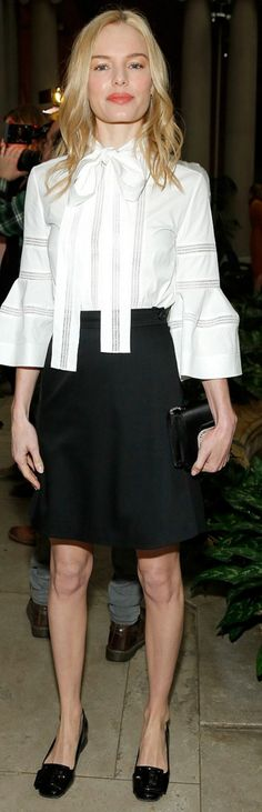 Who made  Kate Bosworth's white bow top, skirt, black clutch handbag, and shoes?