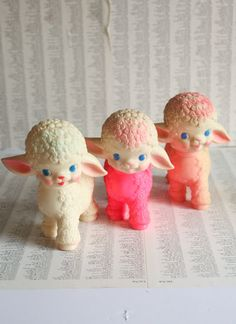 Pink Lamby Love  Vintage Squeaky Toy 1950's by ProfessorWoodruff