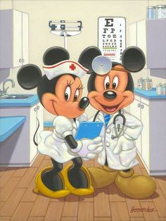 """Mickey and Minnie Mouse -- """"Time for Your Check Up"""" by Manuel Hernandez: Walt Disney, Disney Love, Disney Pixar, Mickey Mouse Pictures, Mickey Mouse And Friends, Mickey Minnie Mouse, Images Disney, Disney Pictures, Disney Cartoon Characters"""