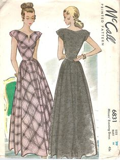 1940s Vintage McCall Printed Pattern Misses Evening Dress Sewing Pattern McCalls 6831