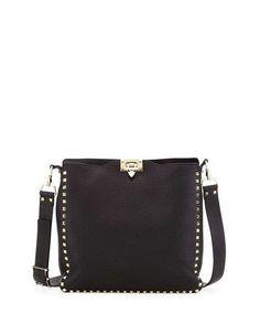 V2JPK Valentino Rockstud Flip-Lock Messenger Bag, Black