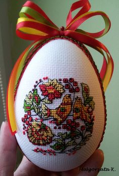 Easter eggs, small design with intricate stitchery and detail. Folk Embroidery, Ribbon Embroidery, Cross Stitch Embroidery, Cross Stitch Patterns, Cross Stitch Bird, Cross Stitching, Minnie Baby, Fabric Ornaments, Cross Stitch Finishing