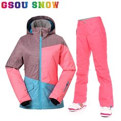 145.60$  Buy now - http://alibjq.worldwells.pw/go.php?t=32785287747 - Gsou Snow Winter Women Skiing Jacket and Pant Super Waterproof Breathable Female Thicken Ski Coat Trousers Ladies Snowboard Suit 145.60$
