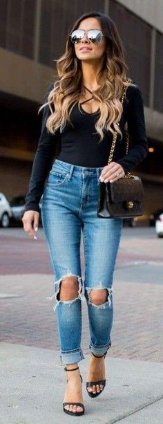 #spring #summer #street #style #outfitideas   Black Bodysuit + Denim  Mia Mia Mine                                                                             Source