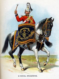 Royal Dragoons, Kettledrummer from Bands of the British Army by W. Gordon and illustrated by F. British Army Uniform, British Uniforms, Military Art, Military Uniforms, England, 16th Century, Armed Forces, Napoleon, War Horses