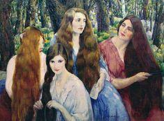 """Leon Kroll """"Four Girls Combing Their Hair"""""""