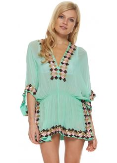 Lindsey Brown Manhattan Aqua Silk Kaftan Top With Bronze Pink & Honey Sequins
