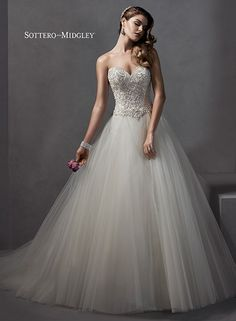 Romantic tulle ballgown with encrusted bodice and sweetheart neckline, Chandra by Sottero and Midgley.