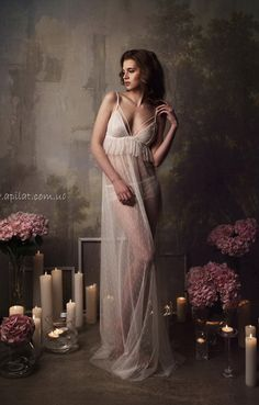 Long Tulle Bridal Nightgown With Lace by Alingerie