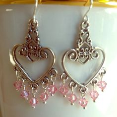 HEARTS AND PINK CRYSTAL EARRINGS Soft pink so delicate - the perfect earrings to wear on a spring day. Jewelry Earrings