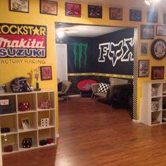 My motocross man cave Man Cave Diy, Man Cave Home Bar, Man Cave Basement, Man Cave Garage, Motocross Bedroom, Dirt Bike Room, Ultimate Man Cave, Reno, Boy Room