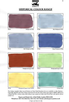 what the actual paint looks like, really like the Wedgwood Lilac tone (same as SW Summer Nights but darker), minty Wedgwood Jasper Green, the lovely teal of Gobelin Blue, & the tone of the Wedgwood Jasper Red might be just right for our front & side door red paint