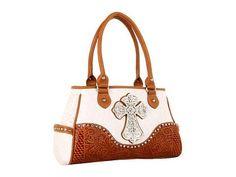 Nocona Ostrich Cross Satchel Satchel Handbags - White