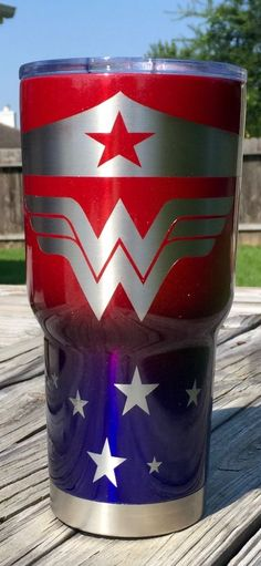 30 oz. Yeti Travel Tumbler in Metallic Red & Bentley Blue Ombre Powder-coating | Wonder Woman