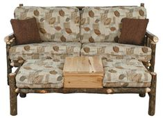 Hickory Furniture - Best Craft Furniture - Loveseat with Party Ottoman Lodge Furniture, Cabin Design, Plymouth, Fun Crafts, Love Seat, Ottoman, Interior Decorating, Outdoor Blanket, Rustic