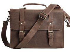 Vintage Slim Notebook Portfolio Leather Bag - Dark Brown