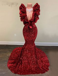 Red Prom Dress Sparkly, Black Girl Prom Dresses, Senior Prom Dresses, African Prom Dresses, V Neck Prom Dresses, Cheap Evening Dresses, Cute Prom Dresses, Mermaid Evening Dresses, Prom Outfits
