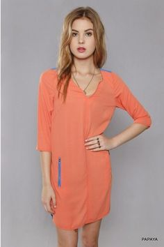 Color Block Shift Dress With Zip Pocket Join for FREE today www.salediem.com And begin to SAVE!!