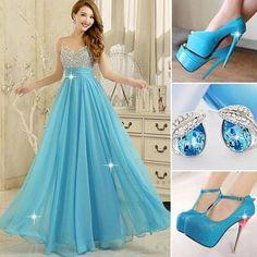 2015 new arrival blue #prom dress long beaded top #evening dress