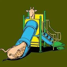 Giraffe on slide look