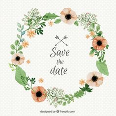 Watercolor wedding floral wreath  Free Vector