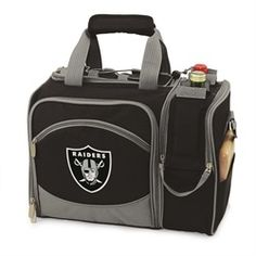 Oakland Raiders Picnic Basket Set For 2 Wine Tote