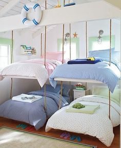 Hanging Bunk Beds. cute for a beach/lake house