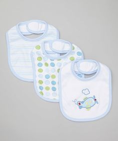 Look what I found on #zulily! Blue Plane Bib Set #zulilyfinds
