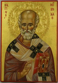 High quality hand-painted Orthodox icon of St Nicholas (halo relief). BlessedMart offers Religious icons in old Byzantine, Greek, Russian and Catholic style.