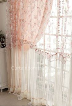Beautiful Floral Pattern Elegant Lace Sheer Panels Shabby Chic Curtain