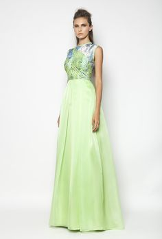 CHRISTOS COSTARELLOS SS12 Silk Organza, Cotton Lace Maxi Dress Christos Costarellos, Green Queen, Silk Organza, Couture, Cotton Lace, Shades Of Green, Dress Me Up, Ready To Wear, Gowns