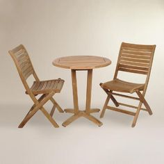 One of my favorite discoveries at WorldMarket.com: Tanjun Teak Outdoor Bistro Set with Folding Side Chairs