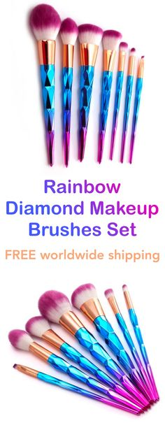 Diamond Rainbow Mermaid Makeup Brushes Set (7pcs)
