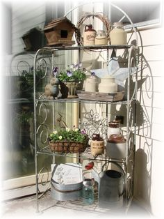 Using a Bakers Rack for Plants/Herbs, with limited space.