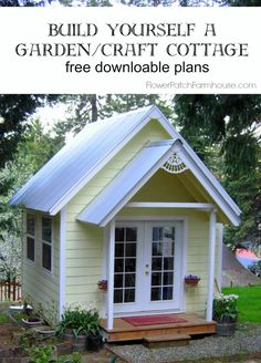 DIY Garden or Craft Cottage with plans, FlowerPatchFarmho. shed design shed diy shed ideas shed organization shed plans Cottage Patio, Cottage Garden Sheds, Cottage Office, Craft Shed, Diy Shed, Craft House, Bungalow, Backyard Sheds, She Sheds
