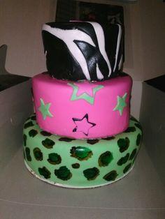 Neon 3 tier boozy cake