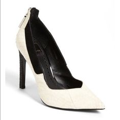 Dolce vita off white snake leather pumps size 10 Pointy toe off white snake print pump with silver hardware size 10 never ever worn and original box!! Dolce Vita Shoes Heels
