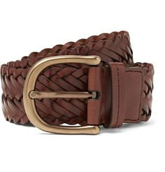 TOM FORD's belt is woven from dark-brown leather and has a wide strap that's ideal for jeans and more casual chinos. It's been crafted in Italy and fastens with a burnished gold-tone buckle.This item is small to size. See Size & Fit notes. Normal Models, Woven Belt, Dark Brown Leather, Leather Belts, Fashion Advice, Tom Ford, Toms, Luxury Fashion, Women Wear