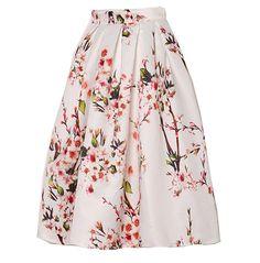 Fashion Retro Blumendruck Kleid Tutu Röcke Taillenröcke mittelang A-Linie Röcke Minirock Sommerrock (S, Weiß)