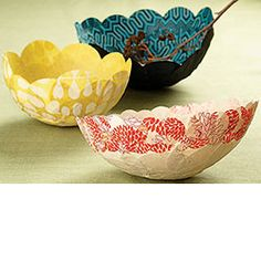 Paper Mache Bowls - ooh!  I already have the yellow paper!  I am making one this weekend!